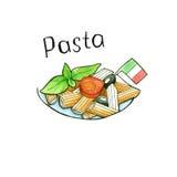 paste Italienische Küche Getrennt watercolor Lizenzfreie Stockfotografie