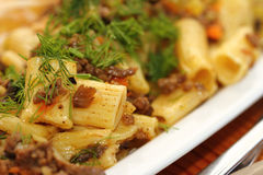 Paste with meat and vegetables sauce Royalty Free Stock Photo