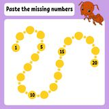 Paste the missing numbers. Handwriting practice. Learning numbers for kids. Education developing worksheet. Activity page. Game vector illustration