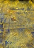 Paste Paper: Blue and Yellow Swirls Stock Photos