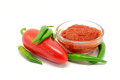 Paste of pepper with peppers Royalty Free Stock Photos