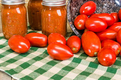 Paste tomatoes and jars of sauce Stock Photos