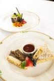 Pastei en aardbeidessert. Royalty-vrije Stock Afbeelding
