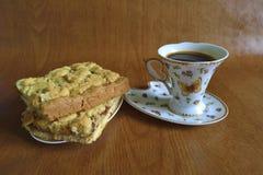 Pastei en koffie Stock Afbeelding