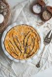 Pastei met kabeljauw, zalm, tomaten, kaas en de lenteui stock afbeeldingen