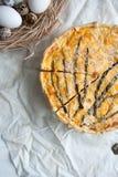 Pastei met kabeljauw, zalm, tomaten, kaas en de lenteui royalty-vrije stock foto