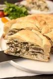 Pastei met kip en paddestoel Stock Afbeeldingen