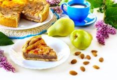 Pastei met peren en amandelen Royalty-vrije Stock Foto's