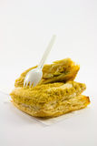 Pastei met Plastic Vork Stock Foto's