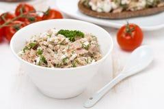 pastei met tonijn, eigengemaakte kaas en kruiden in witte kom Royalty-vrije Stock Afbeelding