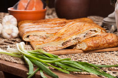 Pastei op de lijst met voedselreeks Stock Afbeelding