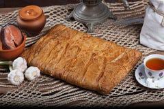 Pastei op de lijst met voedselreeks Stock Foto's