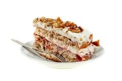 Pastei van heerlijke cake met appel en slagroom het vullen Stock Fotografie