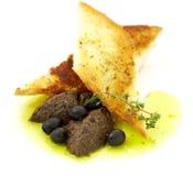 Pastei van olijven in een toost Stock Foto