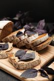 Pasteibrood, levervoorgerecht Smakelijk ontbijt royalty-vrije stock foto