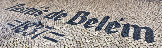 Pasteis de Belem sign inlaid in mosaics Royalty Free Stock Images