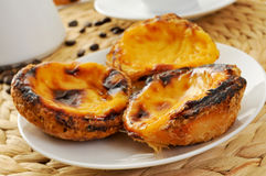 Pasteis de nata, typical Portuguese egg tart pastries Stock Image
