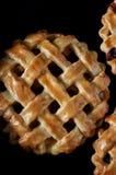 Pasteitjes met een rooster van deeg wordt gemaakt dat Vullend van aardbeien, abrikozen, nectarines, perziken, kersen Close-up royalty-vrije stock afbeelding