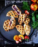 Pasteitjes met een rooster van deeg wordt gemaakt dat Vullend van aardbeien, abrikozen, nectarines, perziken, kersen Op een grill stock fotografie