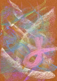 Pastel: Abstract Background with Pink Ribbon. Handmade pastel done by the photographer: I hold copyright on the image Royalty Free Stock Photos