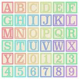 Pastel Alphabet Blocks. Complete set of 26 letter blocks A through Z and 10 number blocks 0 through 9 vector illustration