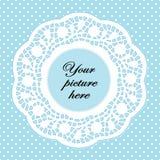 Pastel Aqua Lace Doily Frame, Polka Dot Background Stock Photo