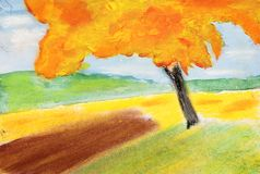 Pastel and aquarel painting of autumn tree. A mixed pastel and aquarel painting of a tree in autumn royalty free stock photography