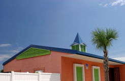 Pastel Architecture. A pastel-colored building in a tropical beach resort town in Florida Stock Photos