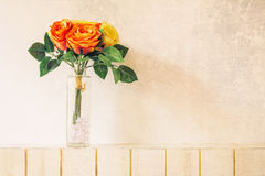 Pastel Artificial Pink Rose Wedding Bridal Bouquet in flower pot. Royalty Free Stock Photo