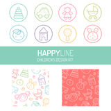 Pastel baby icon and pattern set Stock Images