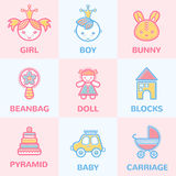 Pastel baby icons Royalty Free Stock Image
