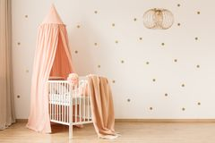 Pastel baby`s bedroom interior royalty free stock photo