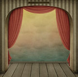 Pastel background with arch and curtains royalty free illustration