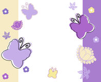 Pastel background with butterflies in yellow,white and violet Royalty Free Stock Images