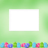 Pastel background with colored eggs Stock Images