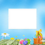 Pastel background with colored eggs Royalty Free Stock Images