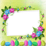 Pastel background with colored eggs Stock Photos