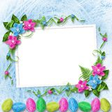Pastel background with colored eggs and orchids Stock Image