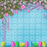 Pastel background with eggs and roses to celebrate Easter Royalty Free Stock Photos