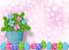 Pastel background with multicolored eggs Stock Image