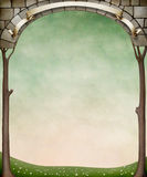 Framed stone arches and trees. Stock Images