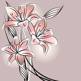 Pastel background with stylized lilies Stock Image