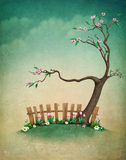 Pastel background with  tree and  fence. Stock Photos