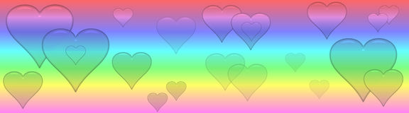Pastel Banner with glassy transparent hearts Royalty Free Stock Photography