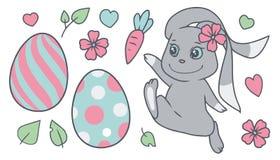 Pastel barwiący kreskówki Easter wektorowy inkasowy ustawiający z królikiem, wiosna kwitnie, barwił, jajka, liście, serca royalty ilustracja
