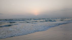 Pastel Beach scene. Beach siesta key at sunset stock photo