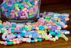 Pastel bead bracelets. Closeup of pastel bead bracelets Stock Image
