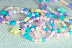 Pastel bead bracelets. The closeup of pastel bead bracelets stock image
