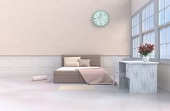 Pastel bed room 3d rendering. Pastel bed room decor red rose  Interior background. The sun shines through the window into the shadow. 3D render Royalty Free Stock Photos