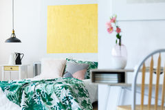 Pastel bedroom with artworks Stock Photos